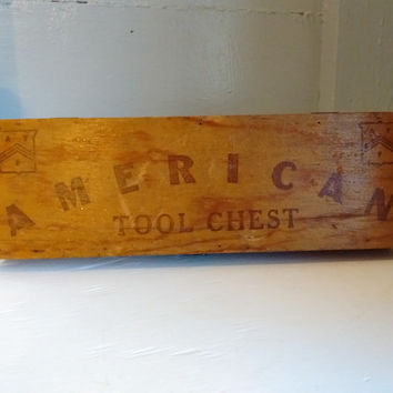 Antique Wood Tool Box, Tool Box, Storage Box, Wood Box, American Tool Chest