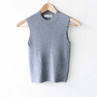 Mock Neck Sleeveless Crop Top - Grey
