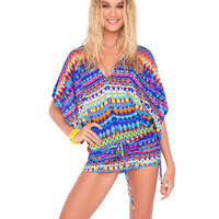 Luli Fama Tribal Beach Cabana V Neck Dress