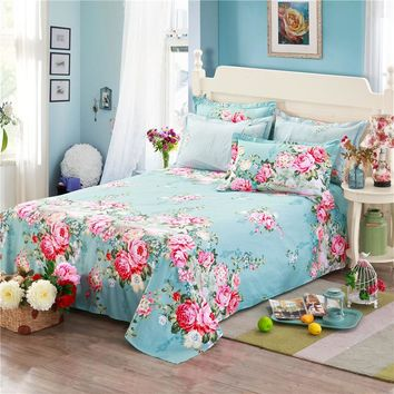 100% cotton blue bed sheets pink printing flowers new fashion cartoon twin full queen king size bedding sets 2pcs pillowcase