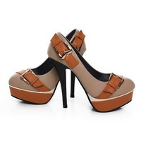Wholesale Popular High Heel Belt Buckle Pumps Apricot