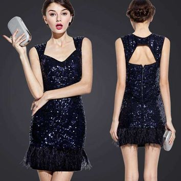 uniquewho women elegant sequin mini dress Elegant exposed back navy blue sequined feather tank dress club evening party dress