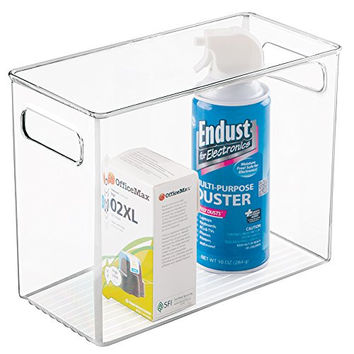 mDesign Tall Office Storage Bin - Large, Clear