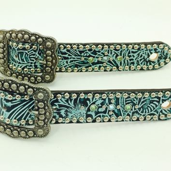 "Teal Filigree Belt Style Spur Strap w/1.25"" Western Style Buckle"