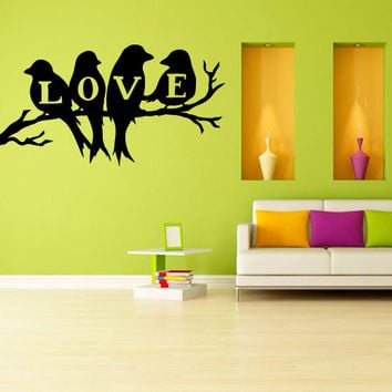 Wall Decal Vinyl Sticker Decals Art Decor Design Leaves Bird Plants Flower Branch Trees Love inscription foliage Dorm Bedroom House (m1268)
