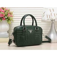 PRADA Popular Ladies Leather Satchel Tote Handbag Zipper Shoulder Bag Crossbody(-Color) Green I-MYJSY-BB