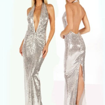 Silver Stripper Gown Stretch Sequin