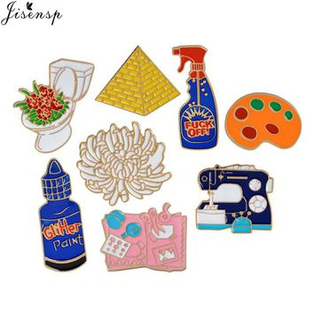 Jisensp Enamel Pins Toilet Flower Sewing Machine Palette Pyramid Paint Hand Tools Brooch Button Pin Denim Jacket Pin Badge Gift