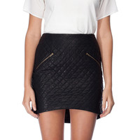Black Leather Mini Skirt with Zipper
