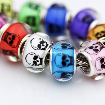 Charm Bracelets Beads 50Pcs/Lot Mixed Color Smooth Plastic Acrylic Skull Bangle