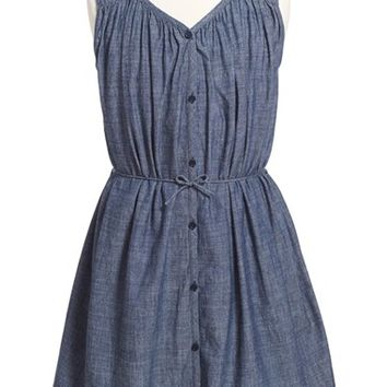 Girl's Burberry 'Felica' Sleeveless Chambray Dress,