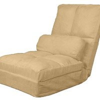 Epic Furnishings Cosmo Click Clack Convertible Futon Pillow-Top Flip Chair Sleeper Bed, Khaki