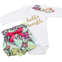 Baby Newborn take home outfit | Bright Coral Flower Hight Waisted Bloomers and Knotted Headband, Gold Hello World Outfit