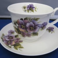 Pansy English Bone China Tea Cups Set of 2