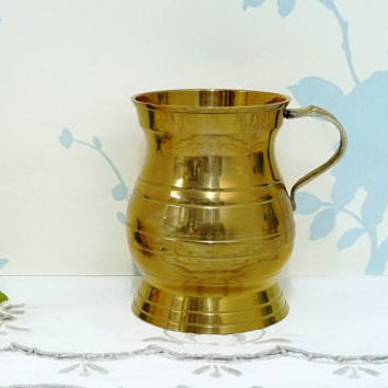 Small Brass Tankard, Ladies Brass Stein, Half Pint Capacity, Traditional Shape, Not Engraved, Brass Beer Stein, Man Cave, Barware, Brass Mug