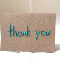 "Kraft Sea Blue Green Simple Mini Blank Notecard (2 1/2 x 3 1/2) ""thank you"""