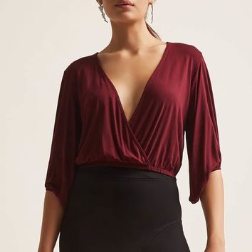 Surplice Mock Wrap Top