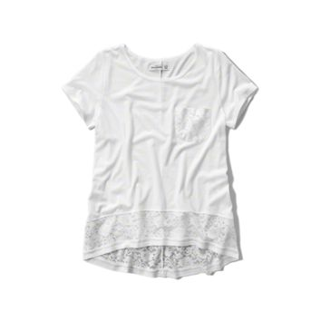 lace hem pocket tee