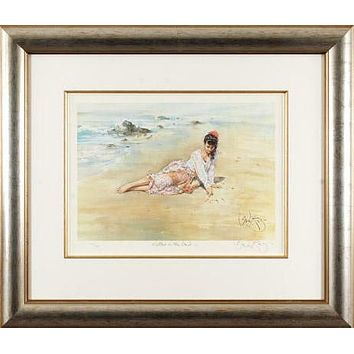 Letters in the Sand - Limited Edition Lithograph on Paper by Gordon King