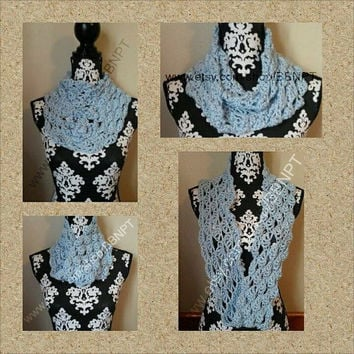 Soft Blue Infinity Scarf ( loop, cowl, texture, wrap, winter, steal, wintery, scallop)