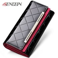 Sendefn Patent Leather Lady Party Clutch Large Capacity Long Woman Wallets Designers Brand Purse Card Holder