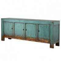 Distressed Turquoise 4 Door Cabinet