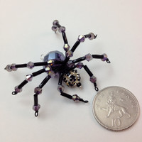 Super Sparkly Purple and Black Beaded Spider Pendant