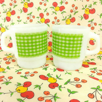 Fire King Lime Green Gingham Mugs, Milk Glass, Anchor Hocking, Green Plaid Checker, Vintage Kitchen, Kitsch, Kitschen,Retro 1960's,Stackable