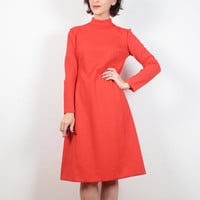 Vintage 60s 70s Dress Red Orange Ribbed Textured Mini Dress Mad Men Dress Mod Long Sleeve ALine Shift Dress Space Age 1970s Dress S M Medium