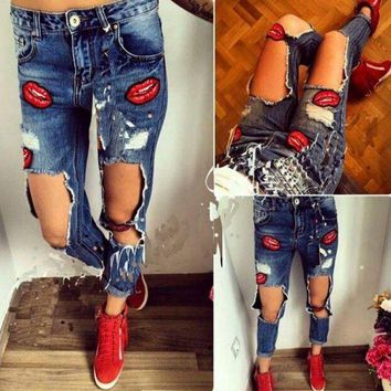 DCCKJ2X Loose hole denim straight jeans pants trousers lip print
