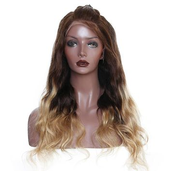 250% Density Virgin Brazilian Human Hair Lace Front Wig Pre-Plucked, Baby Hair and Bleached Knots