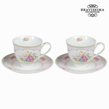 Set of 2 tea cup with plate & box bouquet - Kitchen's Deco Collection by Bravissima Kitchen