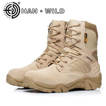 Quality Army Boots For Men Desert Shoes Cow Leather Combat Boots Men Tactical Military Boots Work Shoes Men's Ankle Boots