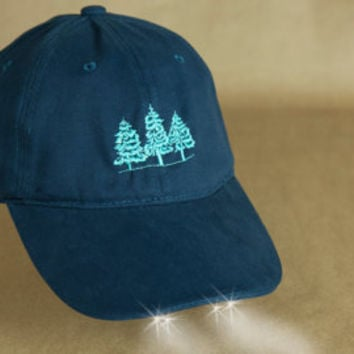 "Red Pine Trees""Hat with Headlights"" Hiking, Skiing,Woodland Walks, Red Christmas Trees,Shoveling Snow, Night Lights,Tree Tops, Mountain Tree"