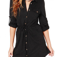 Black Long Sleeve Shirt Dress With Drawstring