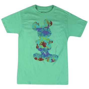 Disney Mickey Mouse Hawaiian Print Graphic Design Men's  Casual T-shirt, Green
