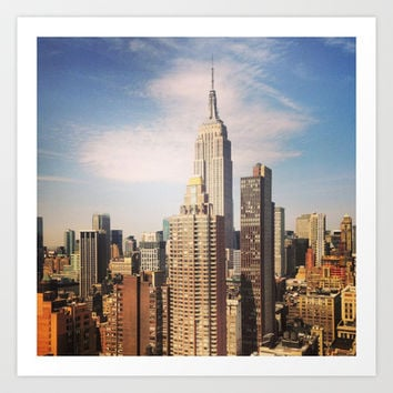 Sunny NYC Skyline and Empire State Building in New York Art Print by Justin Soffer