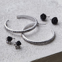 AEO Black Rose And Silver Stud Hoop Earring Set, Silver