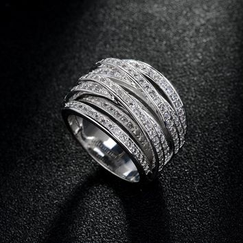Top Quality New Fashion Mosaic AAA Zircon Crystal Multilayer Criss-Cross Silver Ring for Women Luxury Jewelry