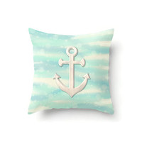 Nautical throw pillow, anchor pillow, nautical decor, aqua pillow, coastal decor, cream pillow, off white pillow, beach decor, seafoam decor