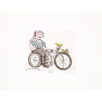 Cyclist - One of a Kind Hand Watercolored Lithograph on Paper by Charles Bragg (1931-2017)
