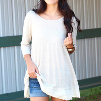Laced Around Back Zip Top {Stone}