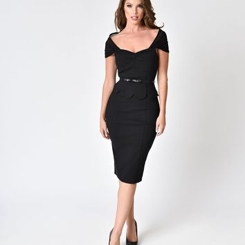 Janie Bryant For Unique Vintage Black Peplum St. Regis Wiggle Dress