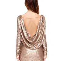 Sequined Backless Long Sleeve Mini Dress