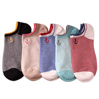 5Pair/Lot Cotton Socks Women Fashion stripe Short Boat Socks Anchor printed shallow mouth Calcetines sale