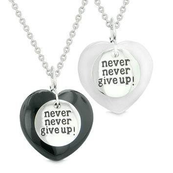Amulets Never Give Up Love Couples or Best Friends Hearts Black Agate White Simulated Cats Eye Necklaces