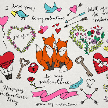 Valentine's Day Clipart - Hand Drawn Clipart, Valentines Illustrations, Heart clipart, Valentines Day Cards and Decor, foxes, roses clip art