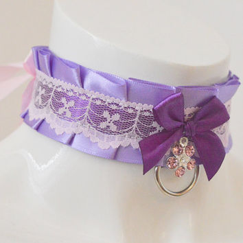 Kitten play collar - Lavande fille - ddlg little princess bdsm choker with leash ring - kawaii cute fairy kei violet lilac and pink