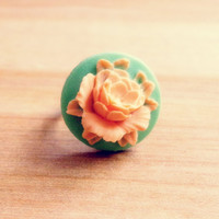 Handmade Vintage Style Flower Adjustable Ring