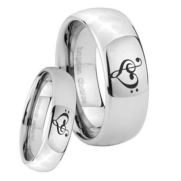 Bride and Groom Music & Heart Mirror Dome Tungsten Carbide Mens Wedding Ring Set